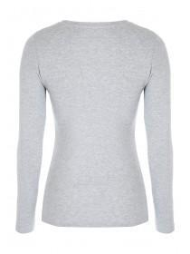 Womens Grey Long Sleeve Crew T-shirt