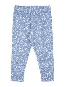 Younger Girls Blue Full Length Ditsy Leggings