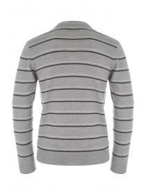 Mens Grey Stripe Soft Touch Jumper