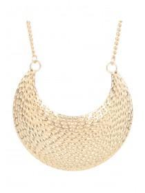 Womens Gold Hammered Crescent Necklace