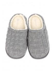 Mens Cable Knit Mule Slipper