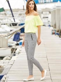 Womens Black Gingham Bengalene Trousers