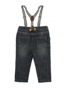 Baby Boys Mid Blue Braces Jeans