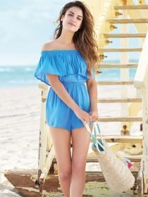 Womens Blue Bardot Ruffle Playsuit