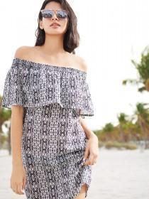 Womens Aztec Print Bardot Dress