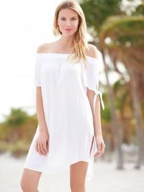 Womens White Bandeau Tie Sleeve Dress