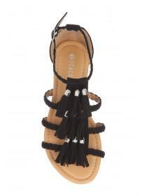 Womens Black Plaited Tassle Sandals