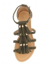 Womens Khaki Plaited Tassle Sandals