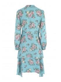 Womens Aqua Floral Chiffon Dress