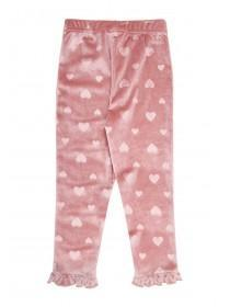 Younger Girls Pink Velour Heart Leggings