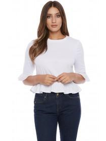 Jane Norman White Frill Hem T-Shirt