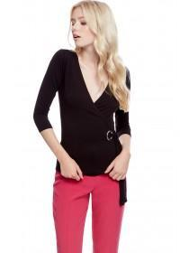 Jane Norman Black Wrap Eyelet Top