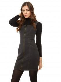 Jane Norman Denim Zip Bodycon Dress