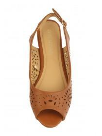 Womens Tan Slingback Peep Toe Shoe