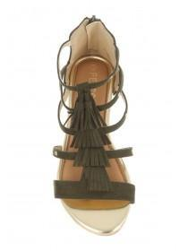 Older Girls Khaki Tassle Sandals