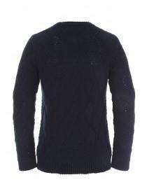 Mens Navy Basket Weave Jumper