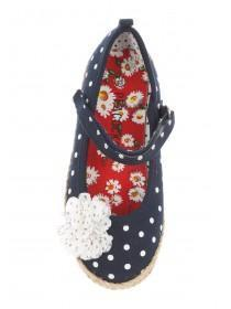 Younger Girls Blue Spotted Canvas Espadrilles