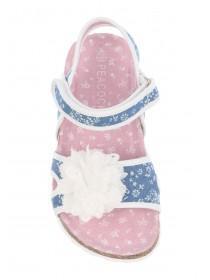 Younger Boys Denim Blue Corsage Footbed Sandals