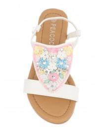 Younger Girls White Embellished Sandals