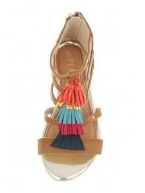 Younger Girls Tan Fringed Sandals