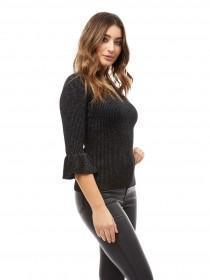 Jane Norman Grey Keyhole Frill Sleeve Jumper