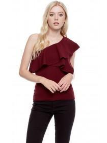Jane Norman Berry One Shoulder Ruffle Top
