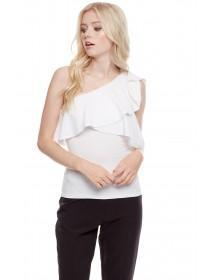 Jane Norman White One Shoulder Ruffle Top