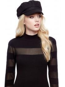 Jane Norman Black Baker Boy Hat