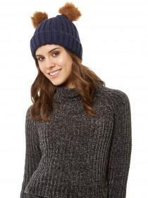 Jane Norman Navy Two Pom Hat