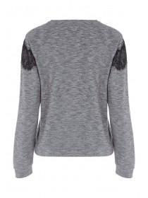 Womens Grey Lace Sweater