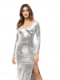 Jane Norman Silver Sequin Maxi Dress