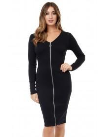 Jane Norman Black Zip Through Bodycon Dress