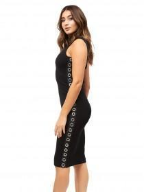Jane Norman Black Eyelet Trim Bodycon Dress