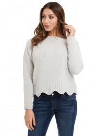 Jane Norman Light Grey Scallop Lurex Jumper