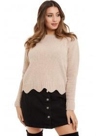 Jane Norman Light Pink Scallop Lurex Jumper
