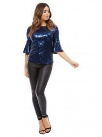 Jane Norman Blue Sequin Flare Sleeve Top