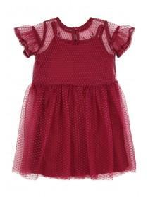 Younger Girls Berry Layered Mesh Dress