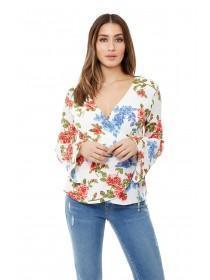 Jane Norman Floral Wrap Flare Sleeve Top