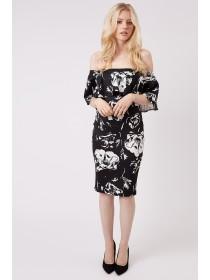 Jane Norman Mono Floral Ruffle Bardot Dress