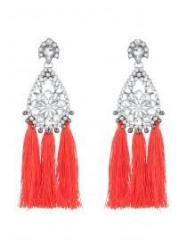 Womens Red Tassel Cocktail Earrings