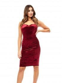 Jane Norman Cherry Red Velvet Strappy Dress