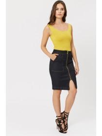 Jane Norman Dark Blue Denim Zip Up Pencil Skirt