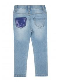 Younger Girls Blue Sequin Patch Jeans