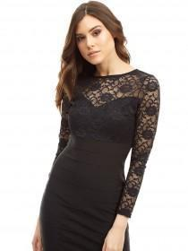 Jane Norman Black Lace Bandage Dress