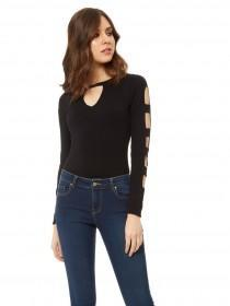 Jane Norman Black Cut Out Long Sleeve Top