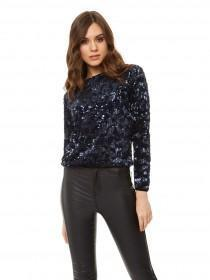 Jane Norman Dark Blue Tie Back Sequin Top
