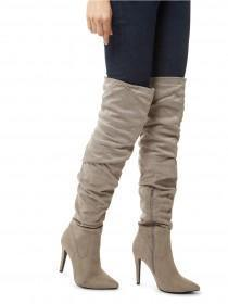 Jane Norman Grey Over The Knee Ruched Boot