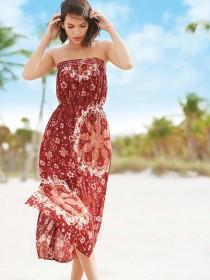 Womens Burgundy Bandeau Maxi Dress