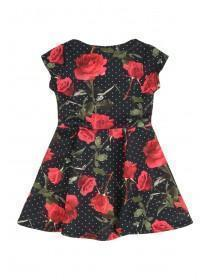 Younger Girls Black Rose Dress