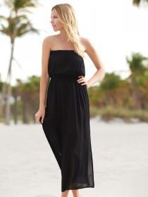 Womens Black Bandeau Maxi Dress